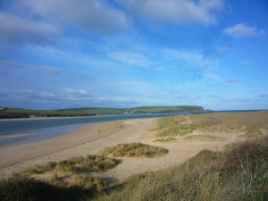 Looking out over the sand dunes towards Stepper Point